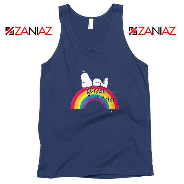Snoopy Dream Rainbow Navy Blue Tank Top
