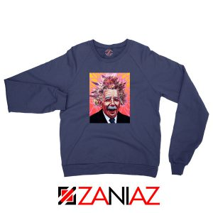 Albert Pinestein Graphic New Navy Blue Sweatshirt