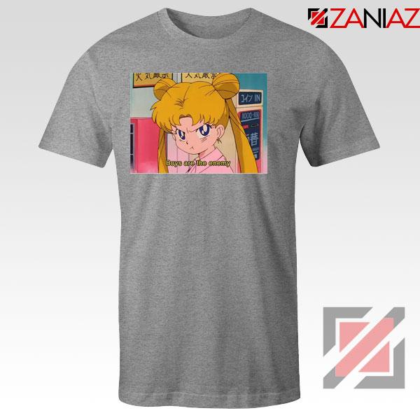 Boys Are The Enemy Sailor Moon Sport Grey Tshirt