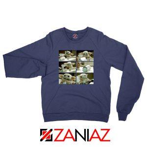 Cookie Stealer Grogu Graphic Navy Blue Sweatshirt
