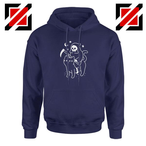 Death Rides Cat Best Graphic Navy Blue Hoodie