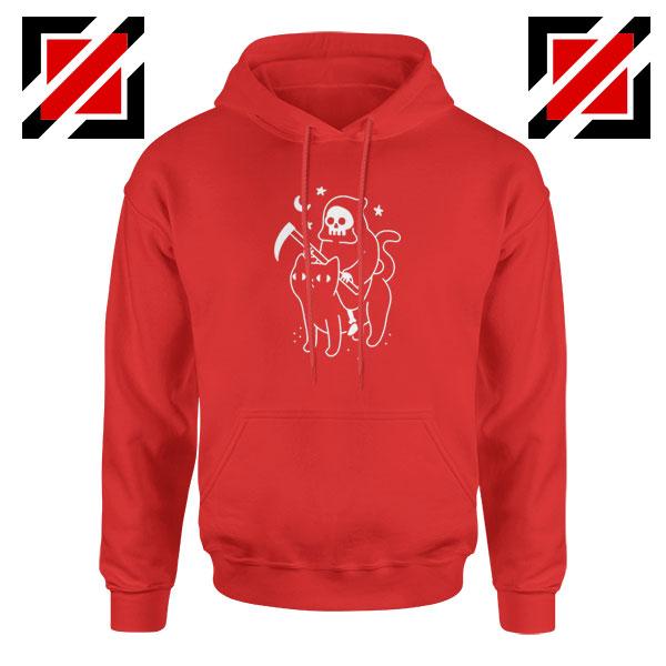 Death Rides Cat Best Graphic Red Hoodie