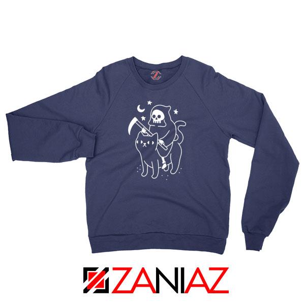Death Rides Cat Graphic Navy Blue Sweatshirt