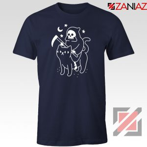 Death Rides Cat Graphic New Navy Blue Tshirt