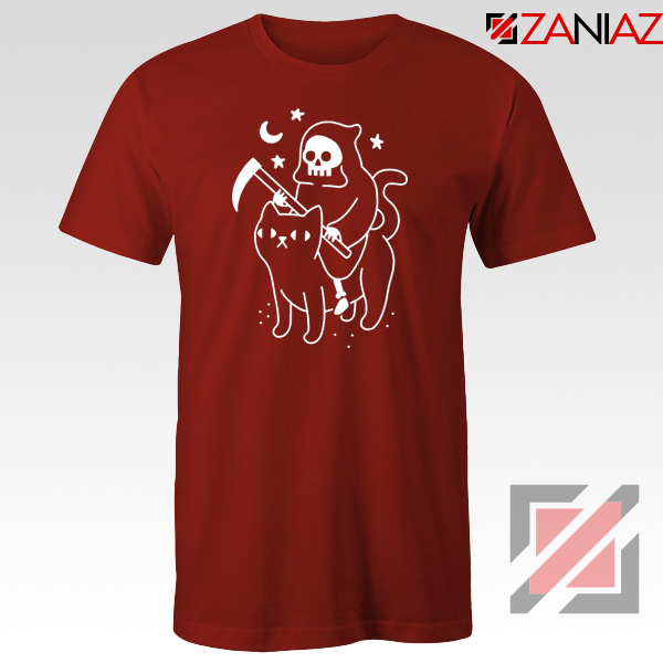 Death Rides Cat Graphic New Red Tshirt