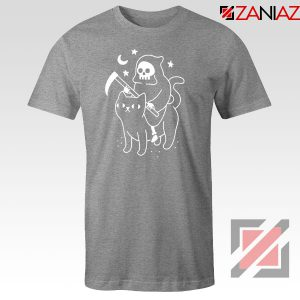Death Rides Cat Graphic New Sport Grey Tshirt