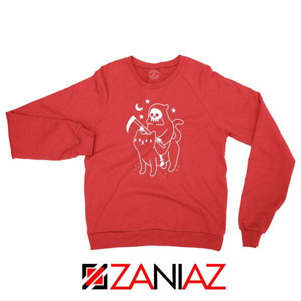 Death Rides Cat Graphic Red Sweatshirt