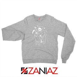 Death Rides Cat Graphic Sport Grey Sweatshirt