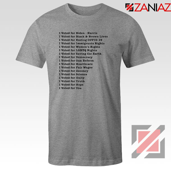 I Voted for Biden Harris Graphic Sport Grey Tshirt