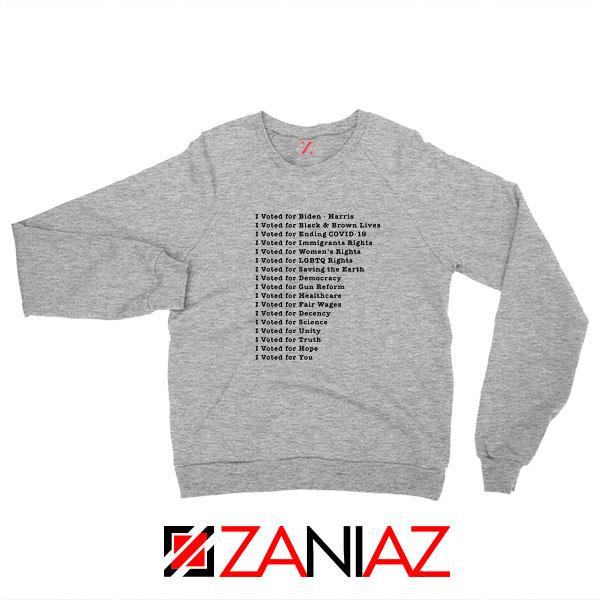 I Voted for Biden Harris New Sport Grey Sweatshirt