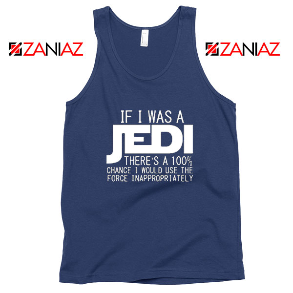 If I Was a Jedi Vintage Navy Blue Tank Tops