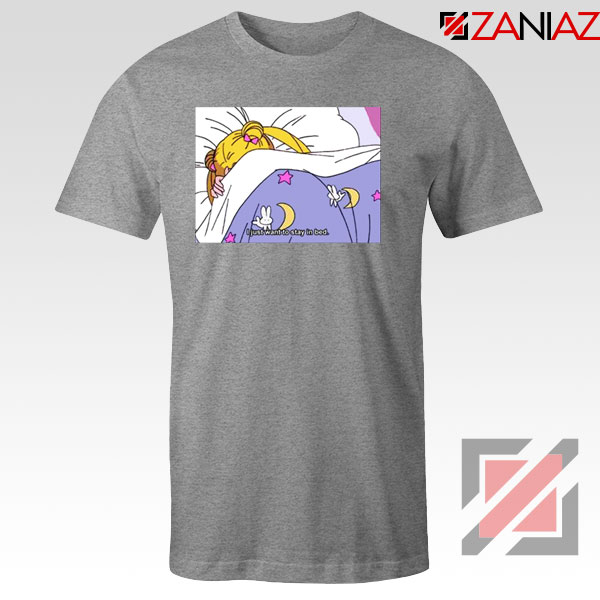 Sailor Moon Anime Stay In Bed Sport Grey Tshirt