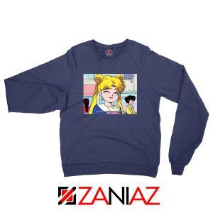 Sailor Moon Eating So Happy New Navy Blue Sweatshirt