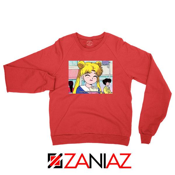 Sailor Moon Eating So Happy New Red Sweatshirt