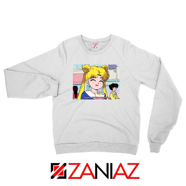 Sailor Moon Eating So Happy New White Sweatshirt