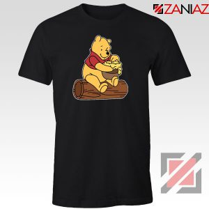 The Pooh Cartoon Black Tshirt
