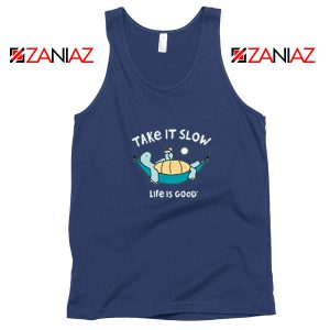 Turtle Relax Life Is Good New Navy Blue Tank Top