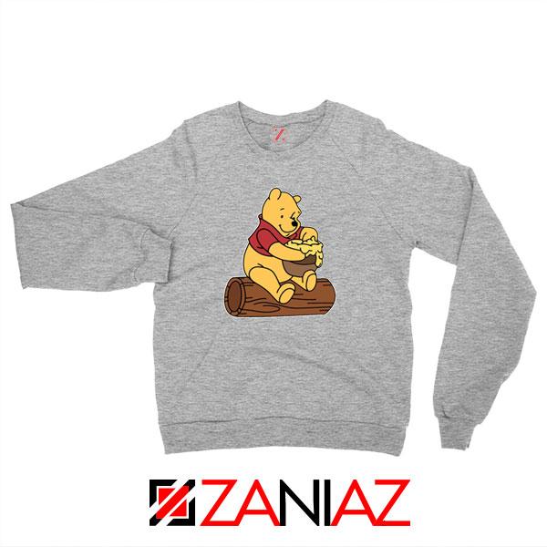 Winnie The Pooh Cartoon Sport Grey Sweatshirt