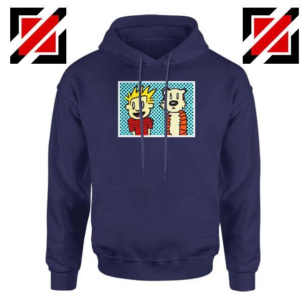 Calvin and Hobbes Cartoon Navy Blue Hoodie