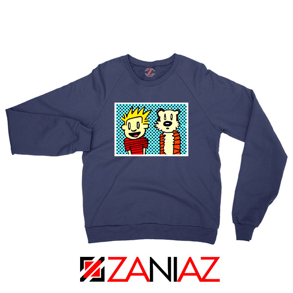 Calvin and Hobbes Cartoon Navy Blue Sweatshirt