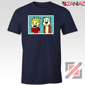 Calvin and Hobbes Cartoon Navy Blue Tshirt