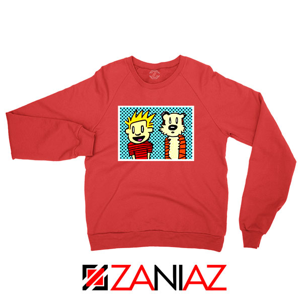 Calvin and Hobbes Cartoon Red Sweatshirt