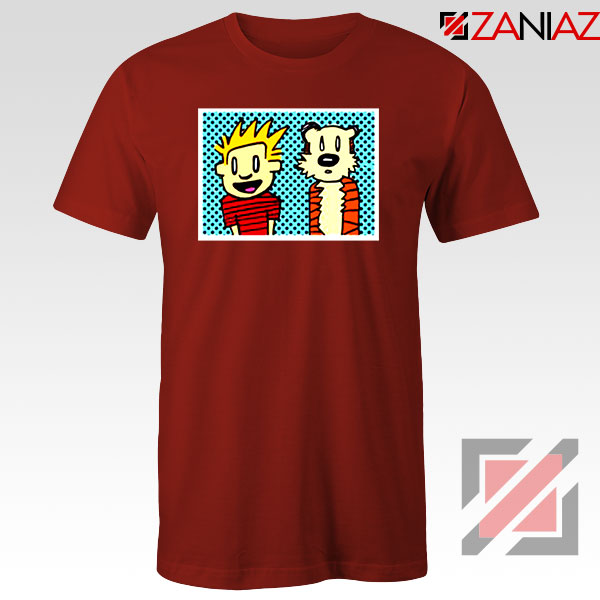 Calvin and Hobbes Cartoon Red Tshirt