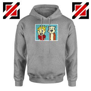 Calvin and Hobbes Cartoon Sport Grey Hoodie