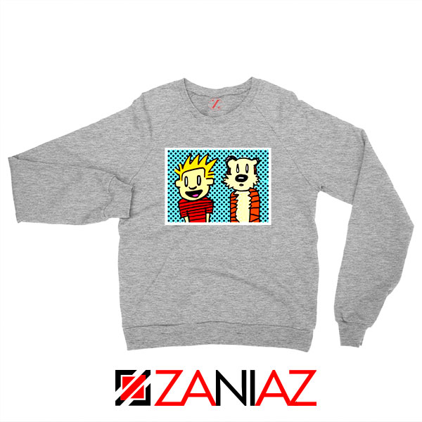 Calvin and Hobbes Cartoon Sport Grey Sweatshirt