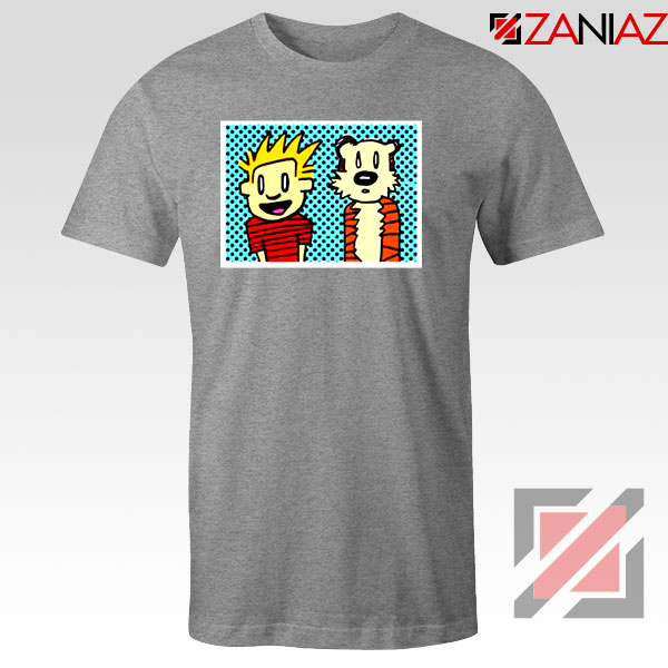 Calvin and Hobbes Cartoon Sport Grey Tshirt