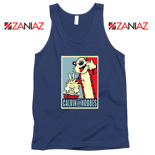 Calvin and Hobbes Smile Navy Blue Tank Top