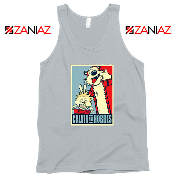 Calvin and Hobbes Smile SPort Grey Tank Top