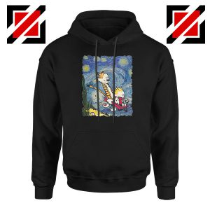 Calvin and Hobbes Stary Night Black Hoodie