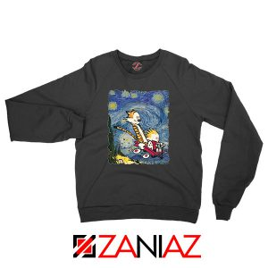 Calvin and Hobbes Stary Night Black Sweatshirt