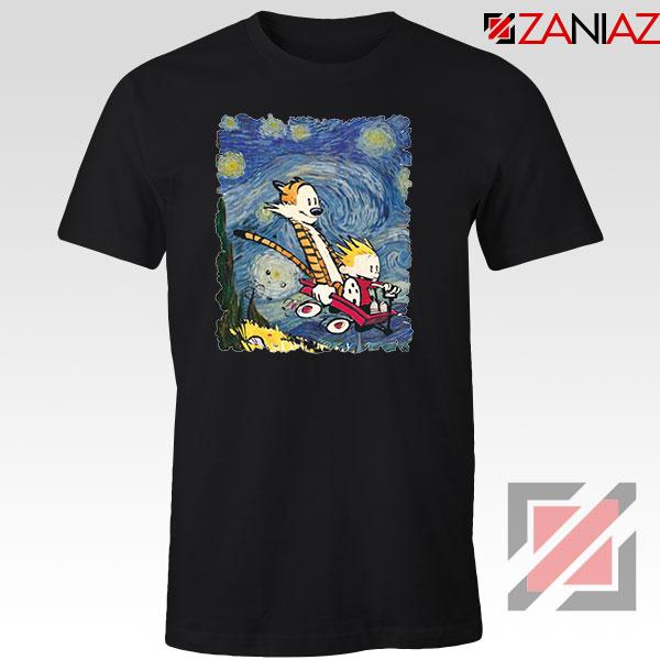 Calvin and Hobbes Stary Night Black Tshirt