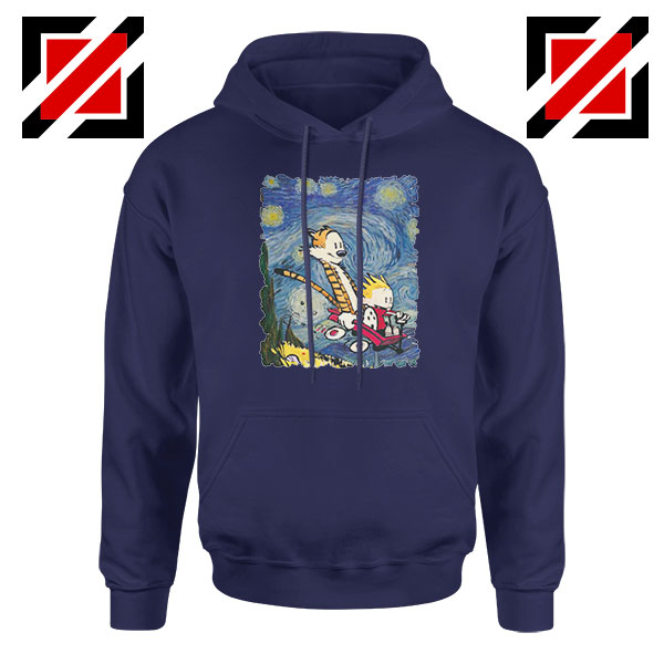 Calvin and Hobbes Stary Night Navy Blue Hoodie