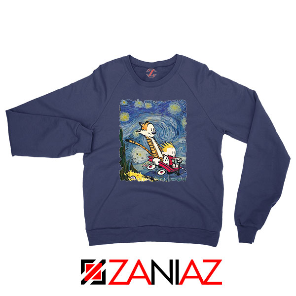 Calvin and Hobbes Stary Night Navy Blue Sweatshirt