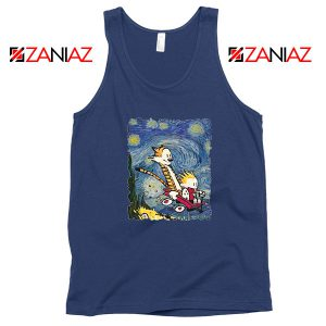 Calvin and Hobbes Stary Night Navy Blue Tank Top