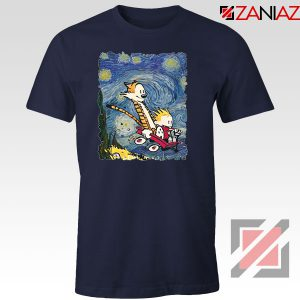 Calvin and Hobbes Stary Night Navy Blue Tshirt