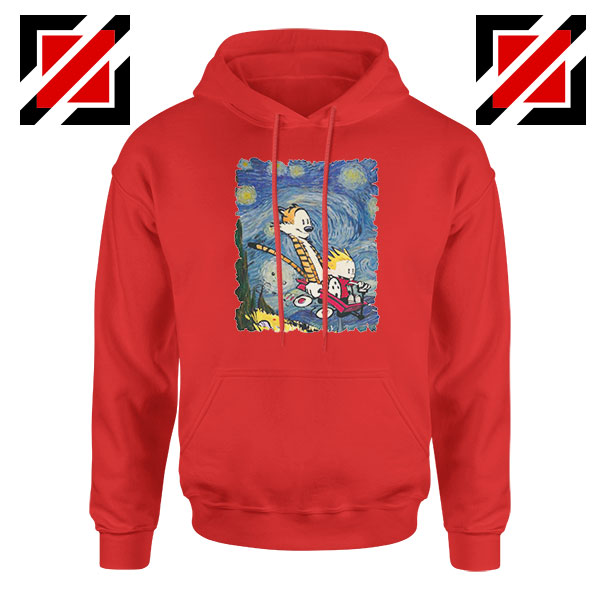 Calvin and Hobbes Stary Night Red Hoodie