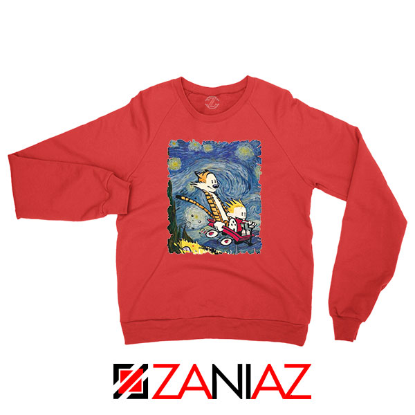 Calvin and Hobbes Stary Night Red Sweatshirt