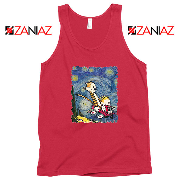 Calvin and Hobbes Stary Night Red Tank Top