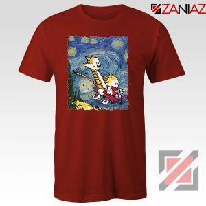 Calvin and Hobbes Stary Night Red Tshirt