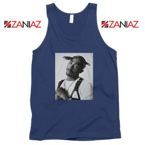 Tupac Black Bandana Best Navy Blue Tank Top