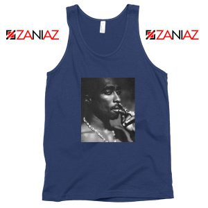 Tupac Shakur Smoke Best Navy Blue Tank Top