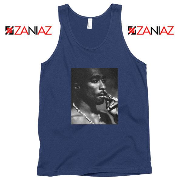 Tupac Shakur Smoke Best Navy Blue Tank Top