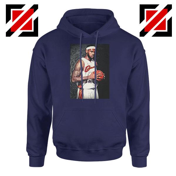 Lebron James Baseball Art Best Navy Blue Hoodie
