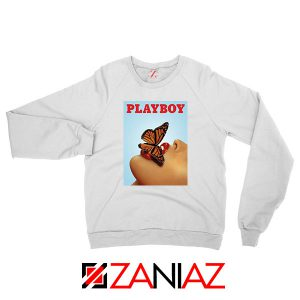 Playboy Girl Butterfly Lip Sexy White Sweatshirt