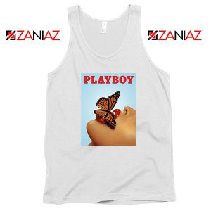 Playboy Girl Butterfly Lip Sexy White Tank Top