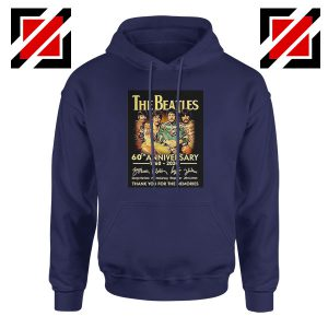 The Beatles Band 60th Anniversary Navy Blue Hoodie